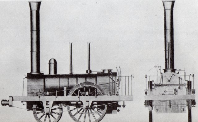 "Among the Liverpool and Manchester's new locomotives with 2-2-0 rather than 0-2-2 wheel arrangements were members of the Planet Class (seen above) built, like ""Rocket"" by Robert Stephenson and Company.  These locomotives again featured two cylinders - measuring 11"" x 16"" rather than 8"" x 16 1/2"" - but placed between the wheels under the smokebox to retain more heat.  In turn this meant that the 5' diameter driving wheels - 3 1/2"" wider than ""Rocket"" - were on a cranked rather than plain axle and to add overall strength the Planet design had a frame outside its wheels.  An adhesion weight of 5 tons was achieved and the multi tubular boiler and blast pipe of ""Rocket "" was retained."