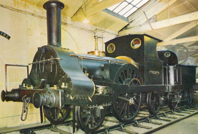 "Just as 2-2-2 ""Great Western"" had been the first locomotive to be built at Swindon Works in 1846, so 2-2-2 ""Columbine"" was the first locomotive to be built at Crewe Works for the Grand Junction Railway in 1845, a year before amalgamation with the London & Birmingham to become the London & North Western Railway.  Typical of Alexander Allen's designs, ""Columbine"" featured outside cylinders to avoid crank axle fractures and combined inside bearings for the driving axles with outside frames and outside bearings for the carrying axles."