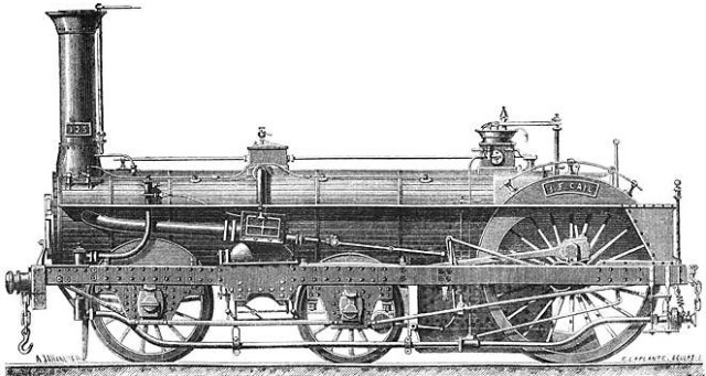 One of the most distinctive Nineteenth-Century locomotive designs was patented by Thomas Crampton and intended to pull comparatively modest loads at high speed. The single driving axle lay immediately behind the fire box and was powered (in the earliest designs at least) by outside cylinders placed between the widely spaced carrying axles.