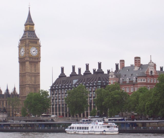 Also visible from the top deck of the MV Millennium City was a wider view of St Stephen's Tower - containing the world famous Big Ben bell - and the cream and dark grey Portcullis House used as office space by Members of Parliament. Moored next to this and a building with horizontal stripes was the MV Sapele.