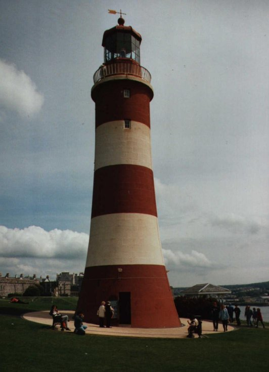 Smeaton's Tower, as rebuilt on Plymouth Hoe
