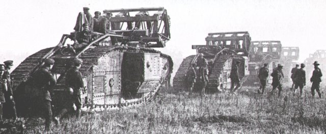 Mark V tanks bear trench-filling devices toward the Hindenburg Line from Cambrai. The newer track-steering tanks were now able to specialise into supply, recovery and combat engineering rolesas well as just fighting.