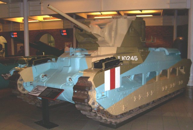 "Now preserved in London's Imperial War Museum, T 10245 is an Infantry Tank Mark II in North African desert markings. Also known as a ""Matilda"", the 1938 design was one of the few Allied tanks of the early Second World War that could withstand most German guns apart from the deadly 88mm. However, its 2 pounder gun was ineffective against more heavily armoured German tanks."