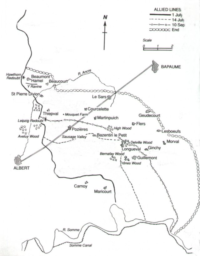 Simplified plan of the Somme battlefield of 15 September 1916. The scale is in miles.