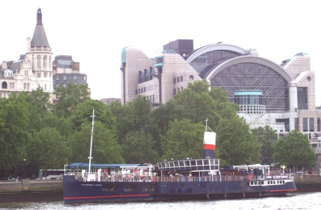 Moored downriver just in front of the art deco Charing Cross station is the former paddle steamer Tattershall Castle, now a floating restaurant.