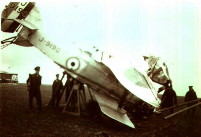 The two pictures above show Armstrong Whitworth Siskin III J 9190 after being hit by a Hawker Tomtit biplane fighter on the ground in 1931. Unfortunately Leading Aircraftsman (LAC) Palmer was killed in the collision.