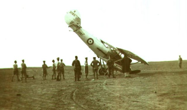 Hawker Demon K 3985 of 29 Squadron after its starboard wheel hit a pothole. Sergeant Soutar was the pilot at El Amriya, Egypt, in November 1935.