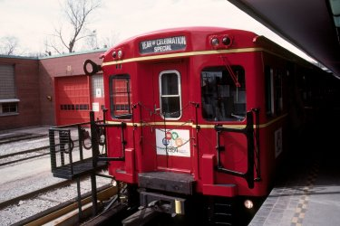 Another Robert McMann image, from 30 March 1984 taken at Davisville Station, on the subway's 30th anniversary. Cars 5098 and 5099 were freshly painted and decked out with the Year of Celebration motif.