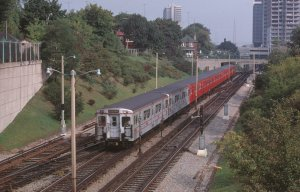 A view at Imperial St from Sept 3, 1971 with two of the aluminum G-2 cars leading a train southbound (The late Robert McMann)