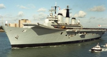 Instead, the Royal Navy began to champion what it referred to as a Through Deck Command Cruiser, a ship of about 22 000 tons displacement with the ability to launch helicopters to hunt for Soviet submarines in the north east Atlantic. To protect these helicopters and the Through Deck Cruiser itself, it was also proposed that the new breed of ships would carry Short Take Off and Vertical Landing British Aerospace Harrier aircraft.