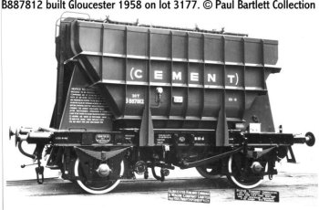 200 special variant Presflos with screw couplings and drawbars for running on Continental railways – it is believed for taking Fuller's Earth to Italy via train ferries – were built as Gloucester Railway Carriage & Wagon Company Lot 3177 of 1958.