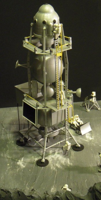 Unlike a field or aerodrome on Earth, few vehicles have ever arrived on the Moon, none have either completely left or left complete and no footprints or tracks will ever erode due to lack of any wind or rain. As such, a lunar diorama even with an Apollo mission in progress has only limited interest due to the small realistic possibility of change.