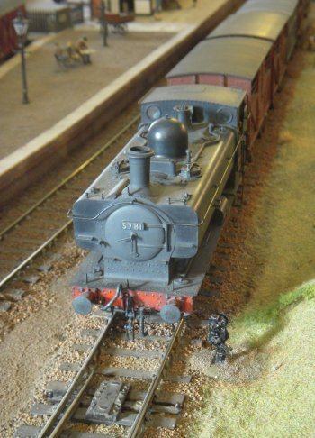 Stapley was a finescale O Gauge layout based on former Cambrian Railway lines during the British Railways era of the mid 1950s. By this time former London Midland and Scottish railway locomotives and rolling stock were appearing in mid Wales as well as more familiar Great Western trains.