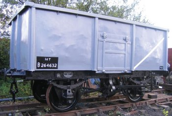 In addition, contracting out construction to a range of different wagon builders - and to engineering firms which had never built railway vehicles before - meant that the resulting 16 ton capacity wagons, although an improvement on the old seven plank wagons they replaced, varied widely. Some had sloping sides rather than straight, others were welded or riveted and had either pressed or fabricated steel doors.