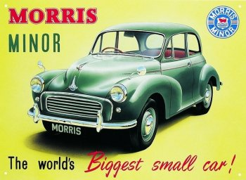 "Early advertisements declared: ""The new Morris Minor makes the most of your petrol, goes farther on a tankful. Traditional Morris reliability and low maintenance are inherent in this modern design."" While the cars light structure and crisp steering helped make up for its slow acceleration and top speed of just below 60 mph, causing the Morris Minor to be dubbed ""one of the fastest slow cars in existence."" As it happened, the Earls Court Motor Show of 1948 also launched the Jaguar XK120, the fastest production car in existence and their two descendents - the Austin Mini and the E-Type - would similarly bookend the motoring possibilities of the 1960s."