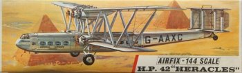 The eight HP42 in general - and Heracles in particular - were immortalised as a 1/144 scale Airfix kit in 1965 and could still be posed alongside 1930s trains on an N gauge layout today. Appropriately, the box artwork shows G-AAXC flying over the Pyramids close to the Imperial Airway's HP42 base in Cairo.