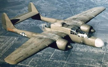 Northrop's proposal submitted in December 1940 - for the first dedicated American night fighter followed the format of the existing twin engined twin-boom Lockheed P-38 Lightningwith a wide horizontal tail stabiliser but large enough to carry a crew of three with multiple gun positions in the fuselage. In fact it would be the largest fighter ever ordered by the USAAF.