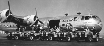 American Airlines operated the first aircraft, named City of Salinas, with the support of Convair for three month transporting fresh fruit between Salinas and El Centro, California and Boston, New York and other eastern cities.