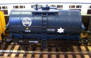 Another Charles Roberts built wagon cradle-type two axle tank wagon, this time in Imperial Chemical Industries markings The 24 inch diameter white star indicates that this wagon can run in goods trains up to 35 mph and the overall dark blue scheme denotes a Class B wagon - cleared for transporting any oil except petrol.