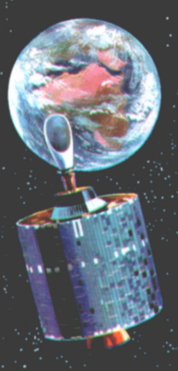 By then though, Intelsat 2 and 3 were in orbit, the latter having been launched from Cape Canaveral on 19 December 1968 and starting work on 24 December with a TV broadcast by Pope Paul. Weighing 322lb, Intelsat 3 was one of eight vehicles built by for the 70 nation International Communication Satellite Consortium and reached geosynchronous orbit at 22 300 miles - almost a tenth of the distance from the Earth to the Moon - above the Equator just off the coast of Brazil. It could handle 1200 telephone conversations or 4 TV channels.