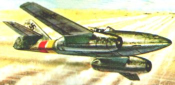 The formidable German Messerschmitt 262 first flew in the same month as the Gloster-Whittle E28/39, packed four heavy canon and could reach 540 mph, due in part to its revolutionary swept wings. However, the service career of the World's first operational swept wing jet fighter did not get under way until mid 1944. Initial German government disinterest resulted in slow development and production while Hitler's personal directive that they were to be used only as bombers - not interceptors - greatly softened the impact which even the few aeroplanes in service would otherwise have had on the Allied bomber offensive. Less than 1500 Me 262s were built.