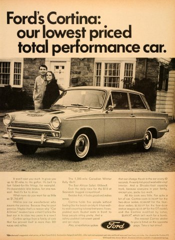 "The Ford Cortina II was designed by Roy Haynes and launched on 18 October 1966 with the slogan ""new Cortina is more Cortina"" despite being fractionally shorter than the original Ford design at 168 inches. However, the Cortina II was 2 1/2"" wider and its curved side panels improved interior space. Other notable features were a smaller turning circle, softer suspension, self adjusting brakes and clutch and the availability of smaller engine sizes in the model range."