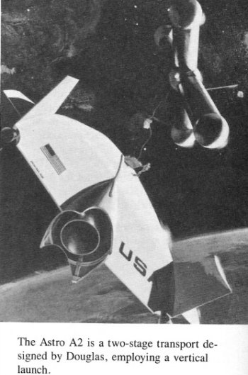 The planned service life was 100 flights for the orbiter and 200 flights for the booster. The engines would have been capable of 50 firings between major overhaul while the airframes would have lasted up to 300 flights).   Douglas Astro could have delivered a 16 851 kg ( 37 150lb) payload to a 555 km orbit.