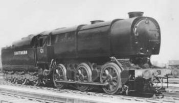 Although most famous in peacetime as a high density suburban passenger network, World War II found the Southern Railway having to move unexpected amounts of heavy freight.  Bulleid's solution was to take the 1938 vintage Class Q 0-6-0 design of his predecessor Richard Maunsell and strip it of all superfluous features.  The resulting locomotive - the most powerful 0-6-0 ever to run in Britain - was built from a minimal amount of raw material and - at less than 90 tons - could operate over 97% of Southern Railway tracks.