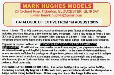 It is with great pride that I present to viewers of Gloucestershire Transport History Mark Hughes Models: the finest purveyor of model bus and tram kits and components in the county if not the nation.  Mark Hughes is also, I am pleased to say, a friend of both the Mellor Brothers and of mine.  Here is his August 2015 catalogue, starting with a message from Mark Hughes himself:
