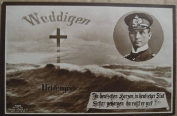 Although designed to fight other large surface vessels, HMS Dreadnought's only victory was becoming the first battleship to sink a submarine - by ramming U-29 as it surfaced on 18 March 1915. U-29's Kapitänleutnant Otto Weddigen – who had received the Iron Cross for sinking HMS Aboukir, HMS Hogue and HMS Cressy - perished along with his shipmates but was immortalised in a German postcard.