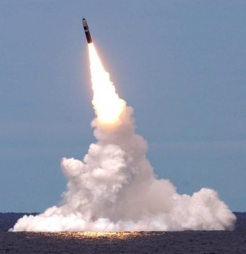 Although the Royal Navy's jet propelled Tomahawk cruise missiles fly through the air to a distant target in the same way as Ikara, the most powerful missile in the Senior Service is the submarine launched Trident. Each Trident missile has three solid rocket motor driven stages and can deliver a nuclear warhead over 7 000 miles at a largely unstoppable 13 000 miles per hour on a ballistic trajectory. When given such range and destructive power, these missiles become not merely naval weapons, but instruments of geopolitical influence, either through use or, we hope, by deterence.