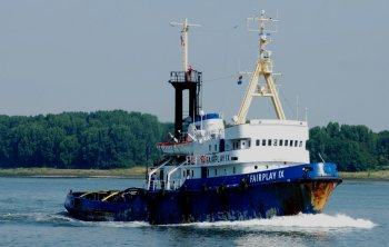 The second Fairplay IX was built in 1970 as Schichau Werft, Bremerhaven yard number 1751. With 57 tons bollard pull and two very cost-efficient MaK-Diesel engines, the tug was predominantly used for long distance towage. Her large bunker capacities enabled the tug to tow for 90 days without stopping and Fairplay IX soon became a favourite with both her clients and her owners. In 1988 however Fairplay IX was captured by pirates in the port of Manila and after being sailed by them via Taiwan and Japan, she was finally returned to Fairplay two weeks later in Hong Kong. 1990 proved to be another eventful year for Fairplay IX. In January she and Fairplay XIV were involved in the salvage of the Iranian Motor Tanker Kharg. The Kharg, a turbine tanker with 270 000 tons of crude oil on board and a draught of 26m had encountered serious problems in a typhoon just off the Moroccan coastline. Then, in September in Guinea, West Africa, 18 African refugees stowed themselves away aboard an accommodation-pontoon which was to be towed to Europe. It was only when they had come as far as the Dutch coast that Fairplay IX crew detected the stowaways. In 2009 and 2010, Fairplay IX was employed towing new-build offshore-hulls from Black Sea yards to Norway. Then, on 26 January 2011 in Bremerhaven, Fairplay IX was delivered to her new Greek owners 'The Spanopoulos Group'. Now known as the Christos XXIV, she flies the flag of the Marshall Islands