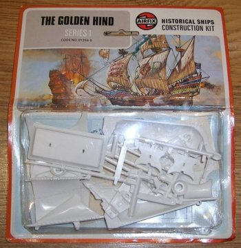 Many potential ship modellers put off by the idea of carving wood however welcomed the arrival of plastic injection kits. Airfix produced their Series 1 Golden Hind in 1952 – a whole year before their first 1/72 scale Spitfire – and in fact it was the Airfix Armada of historic ships – moulded in polystyrene rather than acetate which tended to twist – that pioneered the popular concept of buying and building plastic models. Moreover, before the rise of more specialist model shops, the early Airfix kits were sold in Woolworths and the packaging format of plastic bag and header card was developed to keep prices lower than they would have been had they been boxed.