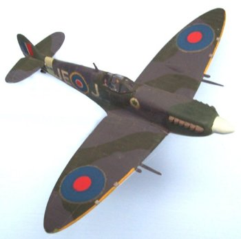 "Probably more has been written about the Supermarine Spitfire than any other aircraft in history but this particular Mark IX was the personal mount of the British flying ace with the most ""kills"" during the World War II. Air Vice Marshal James Edgar ""Johnnie"" Johnson CB, CBE, DSO and two Bars, DFC and Bar (9 March 1915 - 30 January 2001) accounted for 38 Luftwaffe machines and flew EN398 with his personalised JE- J markings as Officer Commanding the Kenley Wing of Fighter Command in 1943"