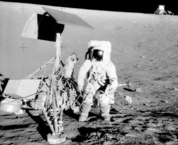 "Similarly, although Charles ""Pete"" Conrad Jr was able to put Apollo 12's LEM ""Intrepid"" down on the Ocean of Storms just 600 feet from the unmanned Surveyor 3 spacecraft - which had made its own automatic landing in April 1967 - the spot designated ""Pete's parking lot"" had been avoided at the last minute as being too rough. Unfortunately this had been selected as far enough away for the LEM descent engine not to blow dust all over Surveyor 3, which ended up coloured beige rather than white!"
