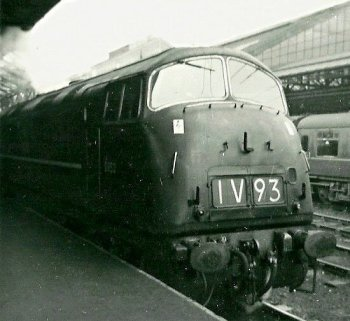 Class 43 diesel hydraulic locomotive D853 Thruster was built by The North British Locomotive Company in Glasgow and entered British Railways service on 30 August 1961. It was withdrawn on 3 September 1971 and scrapped at Swindon on 16 June 1972. It is seen here on a Cardiff to Manchester Express at Crewe on 24 February 1963