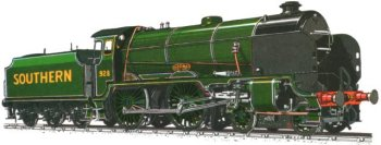 Maunsell's original solution had been a large wheeled 2-6-4T but the 1927 Sevenoaks disaster - following which the River Class 2-6-4Ts were rebuilt as U Class 2-6-0 tender engines - made him look again at a 4-4-0 format which combined elements of his Lord Nelson and King Arthur 4-6-0s.