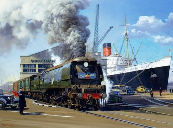 "In the post Second World War heyday of trans Atlantic liners however, trains from Southampton to Waterloo carrying passengers from the Queen Mary and Queen Elizabeth carried ""Cunarder"" headboards while those connected with the SS United States were known as The Statesman."