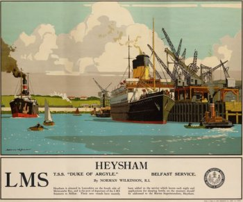 This Norman Wilkinson poster shows the two funnelled Turbine Steam Ship Duke of Argyll, built in 1956 by Harland and Wolff of Belfast to serve both as a ferry and a cruise ship. It replaced the RMS Duke of Argyll built for the London Midland and Scottish Railway in 1928.