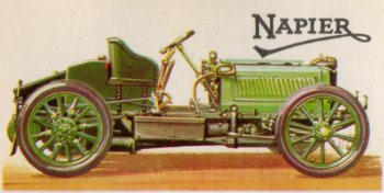National colours were identified as red for the USA, white for Germany and blue for France with Great Britain using olive green in 1902 when Australian driver Selwyn F. Edge won the Gordon Bennett race from Paris to Innsbruck, Austria, in a 35 bhp 6.4 litre Napier. This was designed by Montague Napier, the grandson of David Napier whose firm would later build aero engines and the famous rail and marine Deltic diesel engine