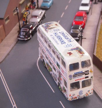 Also appearing on Ming Ing courtesy of Paul and David Mellor was LDF 665F, a rear engined Leyland Atlantean with double deck Park Royal bodywork, in the completely fictitious all over livery of Hurran's Garden Centre, Churchdown