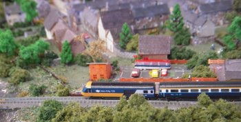 As well as delighting visitors with her 4 and 2mm scale static dioramas in perspex boxes – usually involving BMC Mini cars, Tracey also brought along a T gauge railway layout with a 3 vehicle InterCity 125 High Speed Train orbiting a village at the foot of a dammed reservoir.