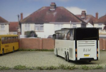 Travel 2000's depot meanwhile was transformed by an extension to the yard with a Gaugemaster backscene featuring the rear of typical British houses. Posed in front of it was a Volvo V9R with a wheelchair accessible Jonckheere body.