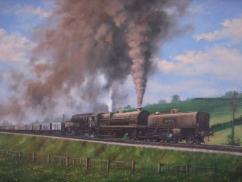 the showstopper for me was Julie West's painting of an LMS Garratt articulated locomotive hard at work climbing the Lickey Incline en route from Bromsgrove to Barnt Green.  Julie has specialised in railway related works of art in both pencil and oil on canvas to commission for over 20 years professionally.  Her work has been exhibited at a wide selection of venues including the National Railway Museum in York.
