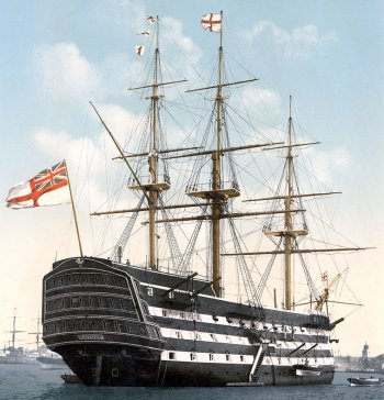 A team of 150 workmen constructed the frame of HMS VICTORY from around 6 000 trees, 90% of which were oak from the Wealds of Kent and Sussex although Forest of Dean timber would be used for 20th Century restoration work.